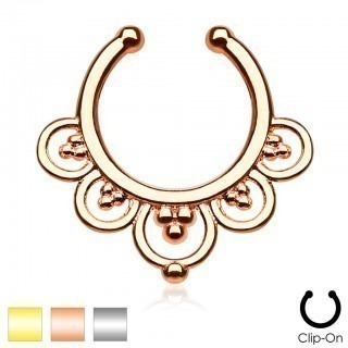 Coloured fake septum hanger with five circles