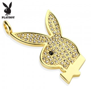 Gold plated Playboy pendant with gems