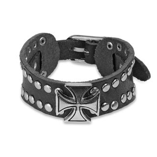 Black leather bracelet with Celtic cross and dome studs