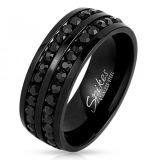 Black ring with double lined black zirconia stones