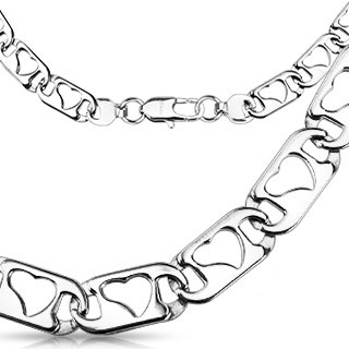 Link chain with hollow heart on links