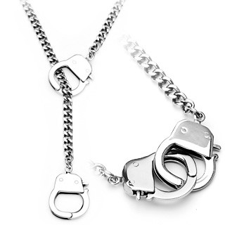 Necklace with hand cuffs made of 316L stainless steel