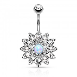 Belly button piercing with big crystal flower and Opal crystal