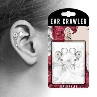 Pair ear crawlers with vine and pearl