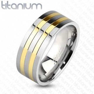 Solid titanium ring with gold plated lines