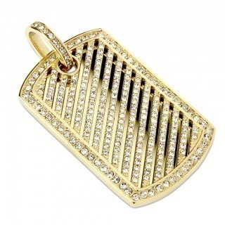 Gold pendant with crystal lines