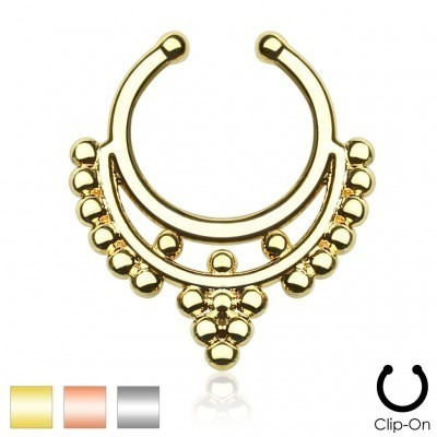 Coloured fake septum hanger with beads