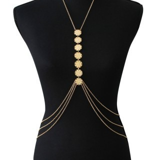 Gold body chain with 7 filigrees for belly/neck
