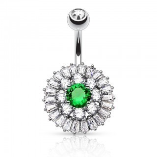 Belly bar with many clear jewels and coloured crystal