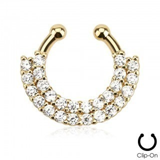 Fake nose ring with double line of crystals