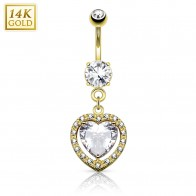 Solid golden belly piercing with heart shaped crystal