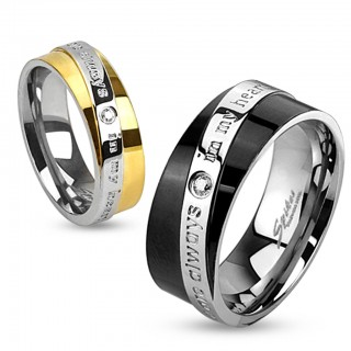 Two Tone ring with text diagonal engraved