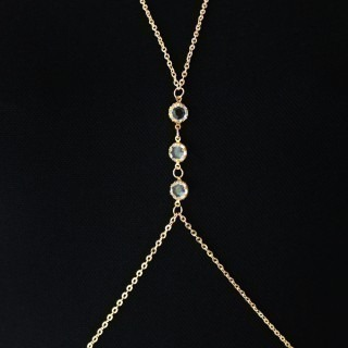 Body chain for belly/neck with 4 clear crystals