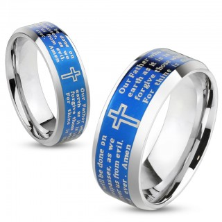 Steel ring with Lord's Prayer and blue IP