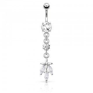 Belly bar with dangling flower and clear diamonds