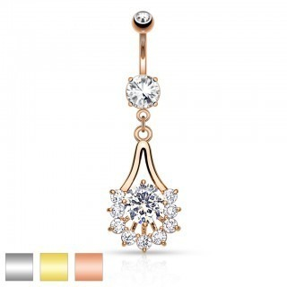 Coloured belly piercing with graceful crystal dangle