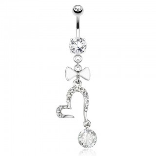 Belly bar with open heart, large gemstones and ribbon