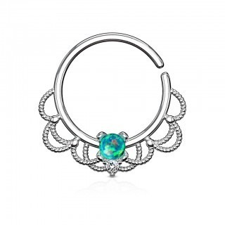 Coloured piercing ring with filigree and opal stone