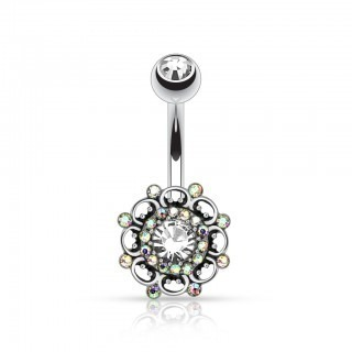 Belly bar with vintage helm and diamonds