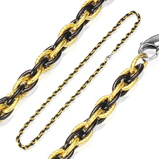 Gold IP and black steel link necklaces