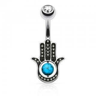 Belly jewellery with black hamsa hand and turquoise stone