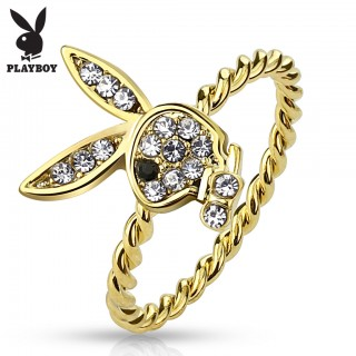 Gold ring with gem paved Playboy Bunny