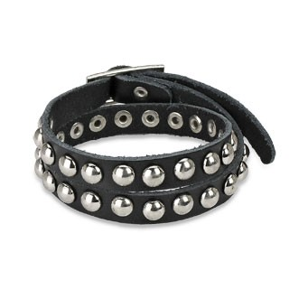 Leather double wrap bracelet with dome studs