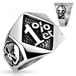 Steel ring with '1%er' and skulls