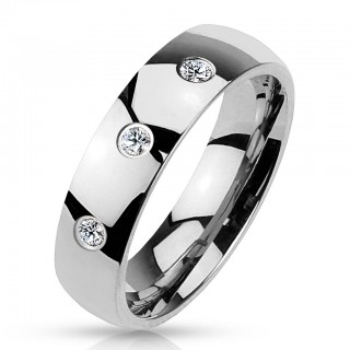 Steel ring with three zirconia gems