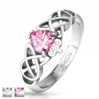 Ring with CZ heart and crown