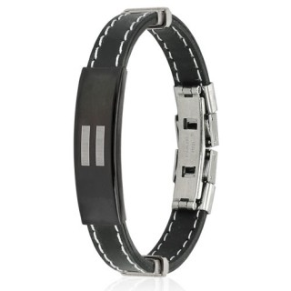 Rubber bracelet with striped ID plate