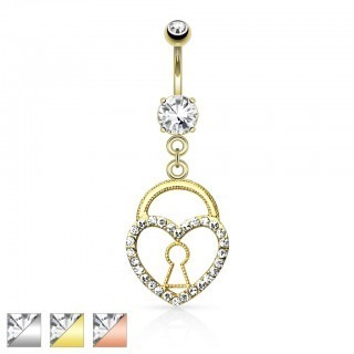 Belly button ring keyhole in dangling heart