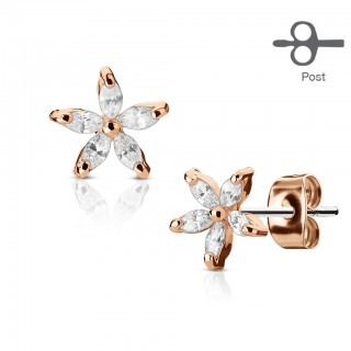 Set of ear studs with flower and marquise petals