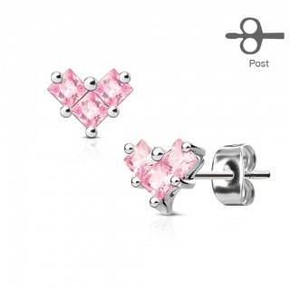 Pair of ear studs with three clear square diamonds