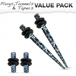 Stretch set inc. plugs met blauw zwart spetter patroon