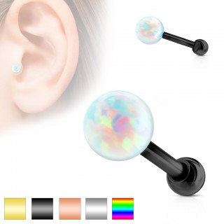 Internally threaded tragus piercing with Opal ball