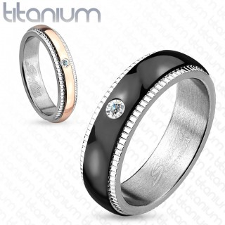 Titanium ring with grooved edge and CZ gemstone