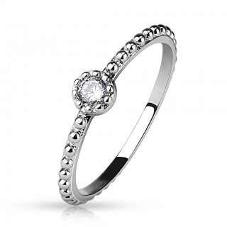 Midi beaded ring with round Cubic Zironia