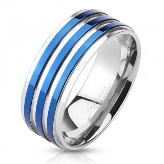 Steel ring with blue stripes