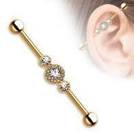 Industrial piercing with three centred diamonds