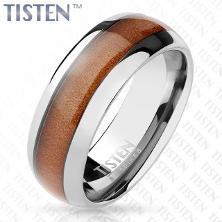 Tisten ring with wood inlay centre