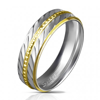 Steel ring with gold chain
