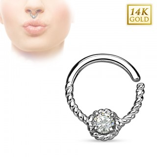 Solid gold bendable septum ring with clear crystal