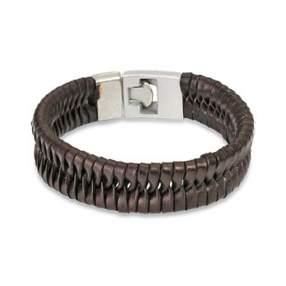 Woven brown leather bracelet with easy closing