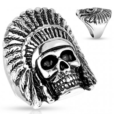 Ring with indian chief head skull