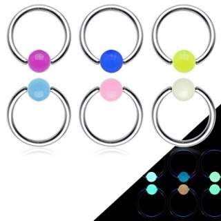 Ball closure ring met glow in the dark balletje