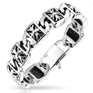 Luxurious link bracelet with engraved cross in links