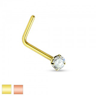 Gold plated nose stud with 2 mm crystal
