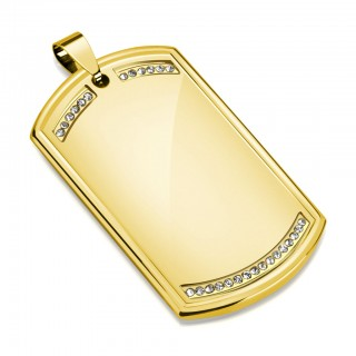 Gold plated Dog Tag pendant with gems