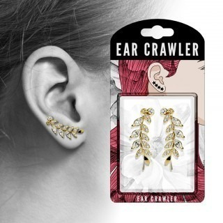 Pair ear crawlers with leaves and clear crystals